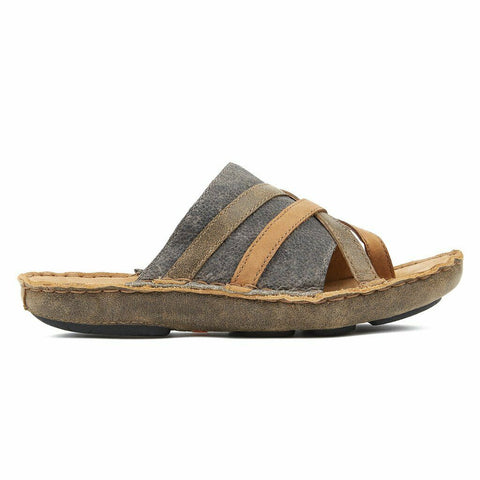Tamarindo® Ladies Sanddollar Brown Grey Leather Slide Sandals WTDS005