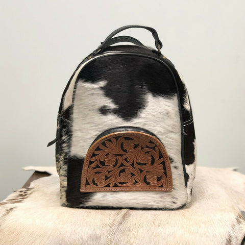 American Darling Black and White Cowhide Backpack Purse ADBGS156BKW