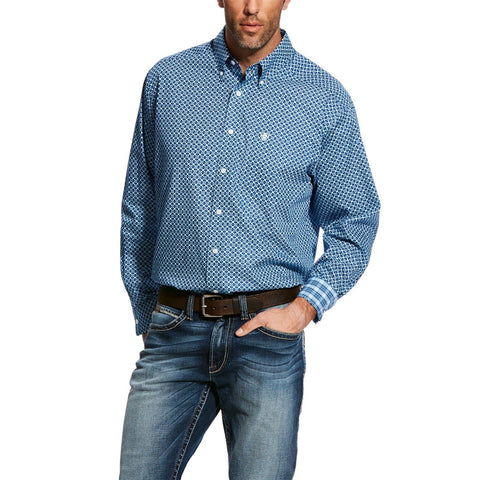Ariat® Men's Wrinkle Free Sapphire Kampsen Print Button Shirt 10025756