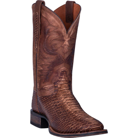 Dan Post Men's Brown Snake Skin Print Square Toe Boots DP4526