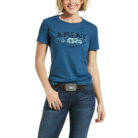 Ariat Ladies Blue Roses and Thorns Short Sleeve Shirts 10032551