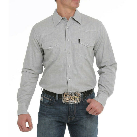 Cinch Men's Heather Grey Modern Fit Pearl Snap Shirt MTW1312036