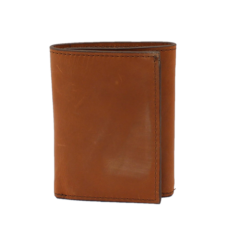 3D Men's Distressed Brown Leather Tri-fold Wallet DW634