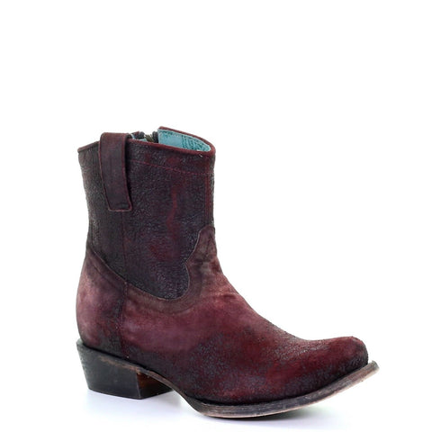 Corral Ladies Wine Red Lamb Round Toe Shortie Ankle Boots C3416