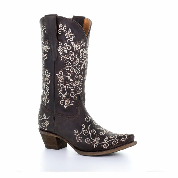 Corral Children's Brown Floral Embroidered Boot E1309