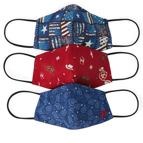 Ariat Ladies Western American Prints Fashion Masks 10036706 (3 PACK)