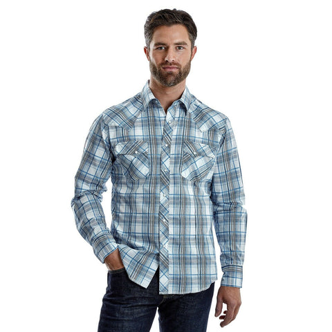 Wrangler Men's Blue and White Plaid Button Down Shirt MVG253M