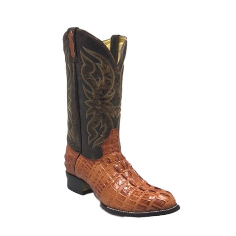 Cowtown Men's Cognac R Toe Alligator Print Western Boots R6094