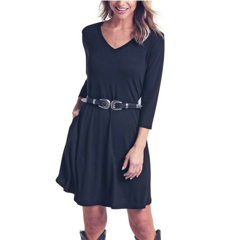 Panhandle Ladies Black 3/4 Sleeve V-Neck Dress L9D6459-01
