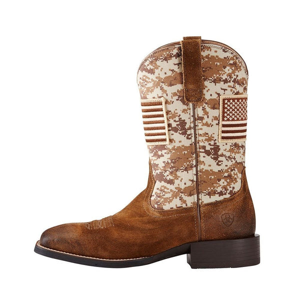 Ariat® Men's Sport Patriot Sand Storm Camo Amercan Flag Boots 10019959 - Wild West Boot Store