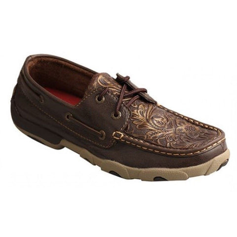 Twisted X Ladies Brown/Emboss Flower Driving Mocs WDM0070 - Wild West Boot Store