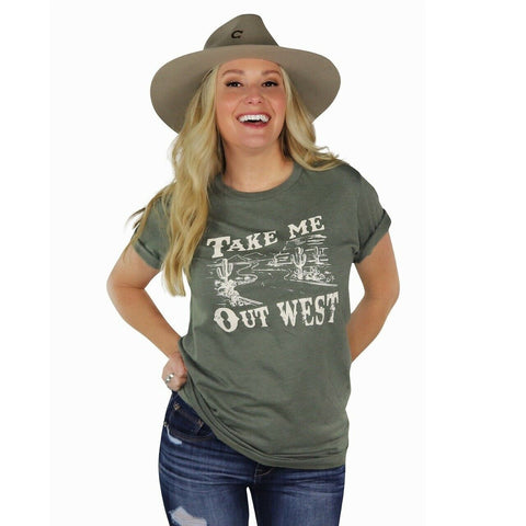 Ali-Dee Ladies Take Me Out West Olive Tee