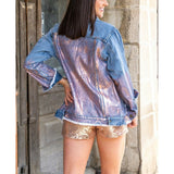 L&B Ladies Denim With Rose Gold Metallic Rust Jacket DP5378-RG