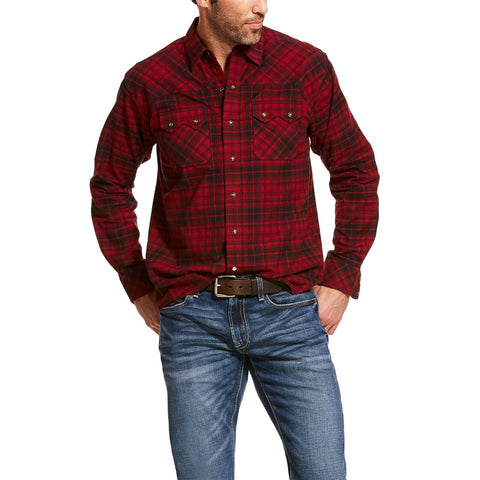Ariat® Men's Red Plaid Flannel Retro Slim Snap Button Shirt 10028885