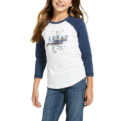 Ariat® Girls R.E.A.L™ White & Blue Serape Rider T-Shirt 10032871