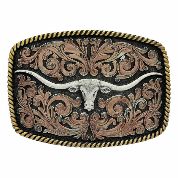 Montana Silversmiths Tri-Colored Longhorn Attitude Buckle A711