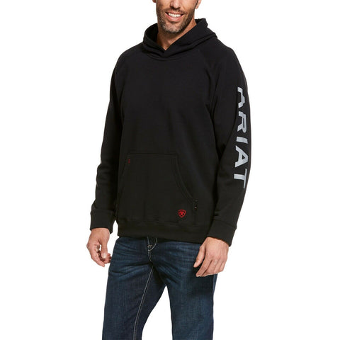 Ariat® Men's FR Black Primo Fleece Logo Stretch Hoodie 10027920