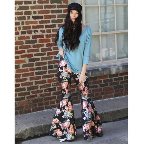 Turquoise Haven Ladies Black Metallic Floral Bell Bottoms 8007-BLK