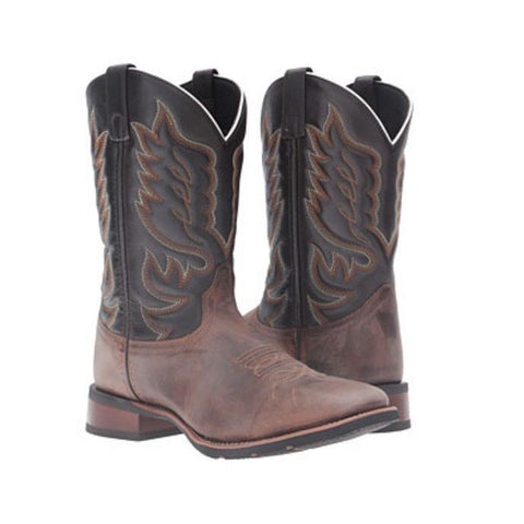 Laredo Men's Sand/Chocolate Montana Square Toe Western Boot 7800 - Wild West Boot Store