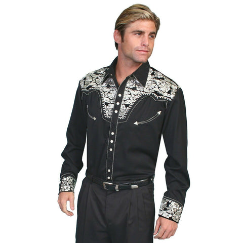 Scully Men's Black & Silver Embroidered Shirts P-634-SIL