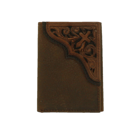 Ariat Men's Corner Cross Medium Brown Leather Trifold Wallet A3531744