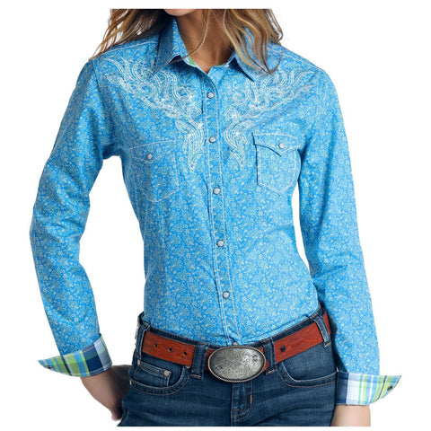 Panhandle Ladies Blue Rumet Vintage Print Shirt R4S5759
