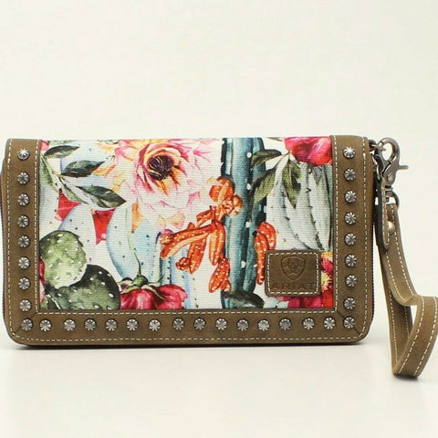 Ariat Ladies Matcher Cactus and Floral Print Studded Leather Clutch A770000197