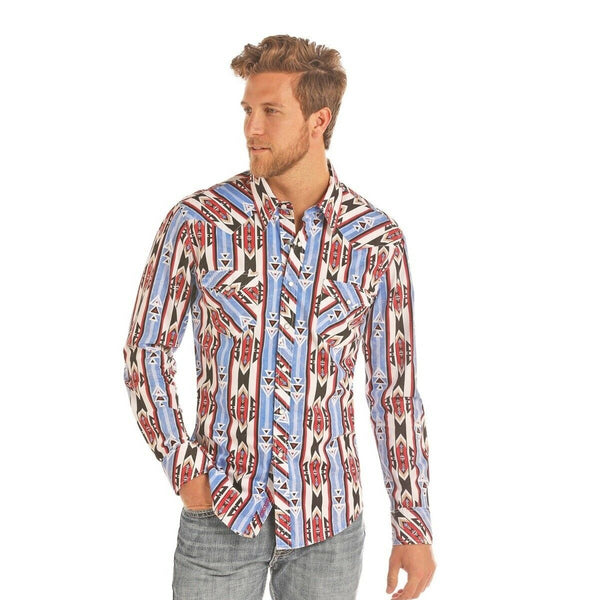 Rock & Roll Cowboy Men's Long Sleeve Blue Aztec Snap Shirt B2S9112