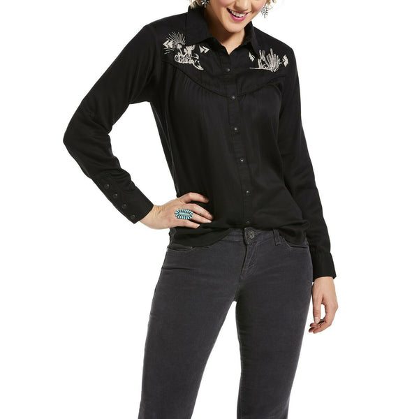 Ariat® Ladies Desert Ride Black Button Up Long Sleeve Shirt 10032865
