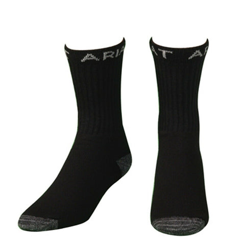 Ariat Men's Black 3- Pack Workboot Socks A2503801