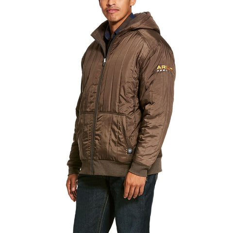 Ariat Men's Rebar Brown Cold Weather Reversible Zip-Up Hoodie 10027840