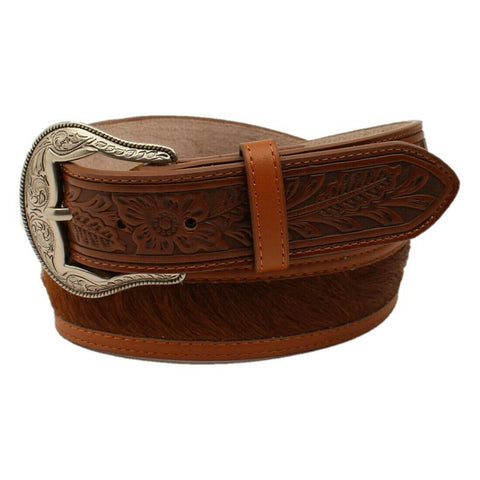3D Men's Western Classic Tan Floral Embossed Calf Hair Belt DWC1413