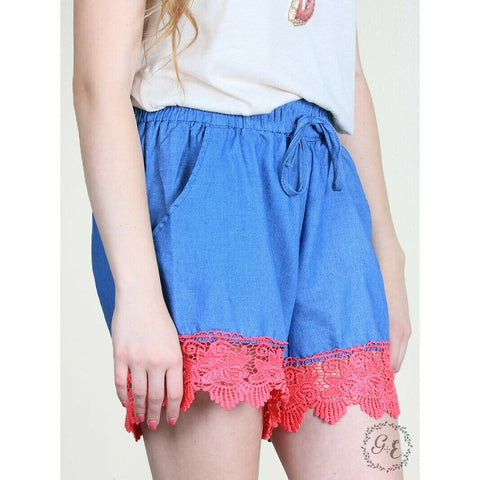 Grace & Emma Ladies Blue with Pink Crochet Trim Sundaze Shorts 1830