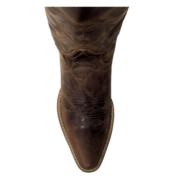 Rawhide by Abilene Ladies Brown Embroidered Scalloped Top Boot 5151 - Wild West Boot Store