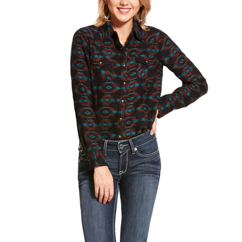 Ariat® Ladies Black Aztec Flannel Rustic Button Snap Shirt 10028756