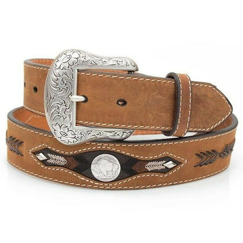 Nocona Men's Buffalo Concho Arrow Medium Brown Leather Belt N2412044