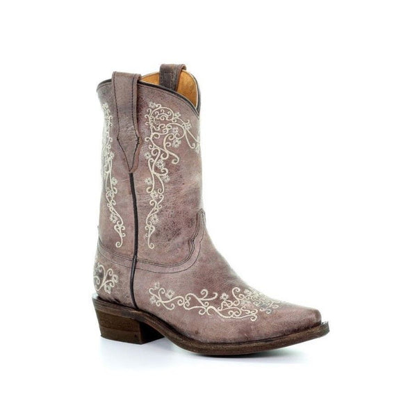 Corral Children's Brown/ Crater Bone Embroidered Boot E1360 - Wild West Boot Store