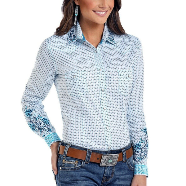 Panhandle Ladies Long-sleeve Comal Vintage Print Button Shirt R4S8429