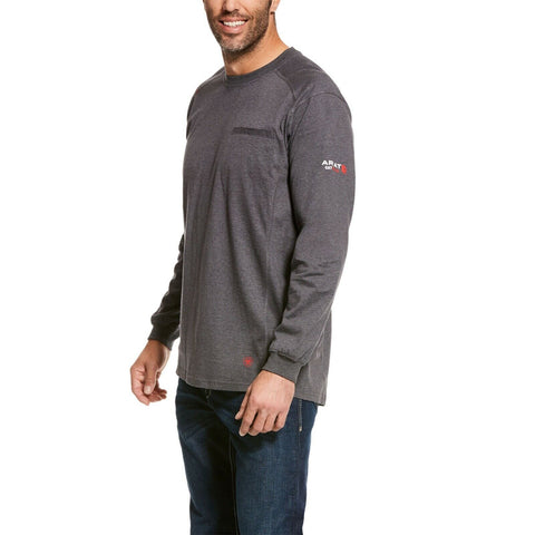 Ariat® Men's FR Air Crew Grey Long Sleeve Work T-Shirt 10027888