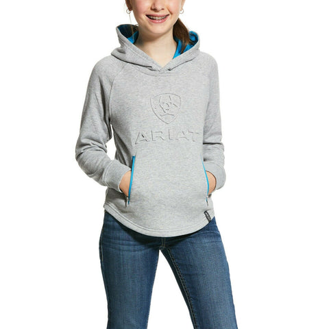 Ariat® Girls Heather Grey 3D Logo Hoodie Sweatshirt 10030414