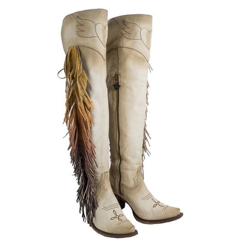 Junk Gypsy Ladies Spirit Animal Bone Suede Ombre Fringe Boot JG0022C - Wild West Boot Store