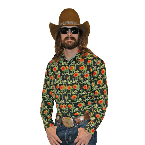 Rock & Roll Cowboy Men's Crinkle Washed Cactus Print Shirts B2S2329