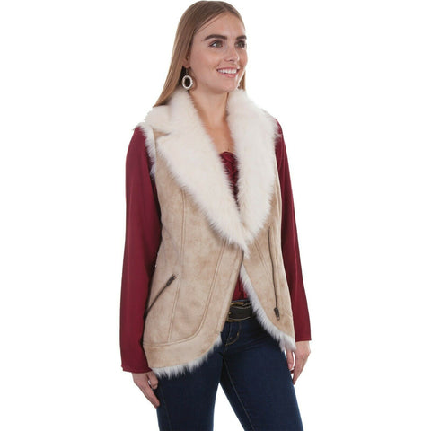 Scully Ladies Beige Shearling Faux Fur Vest 8000-BEI