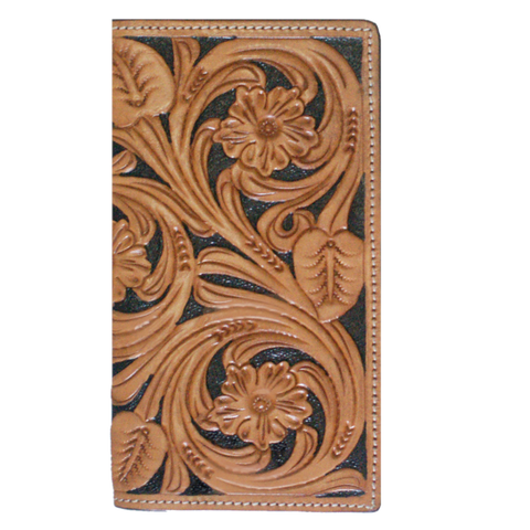 Twisted X Mens Floral tooled Tan & Black Rodeo Wallet XH-106