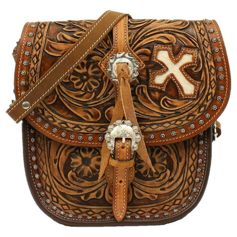 Blazin RoXX Cora Tan Tooled Concealed Carry Saddle Bag N7514208