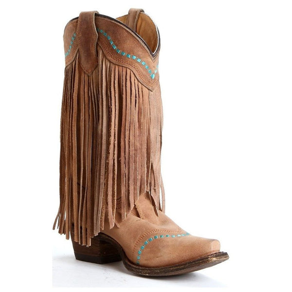 Corral Children's Tan/Turquoise Fringe Boots A3152 - Wild West Boot Store - 1