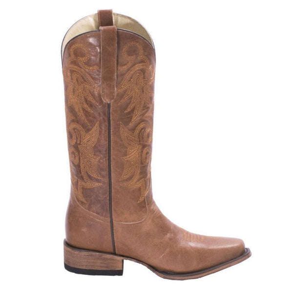 FM 1101 Ladies Asia Tan Leather Square Toe Boots FM0015B - Wild West Boot Store