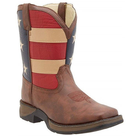 "Durango Children's 8"" Square Toe Patriotic Western Flag Boots BT245C / BT245Y"