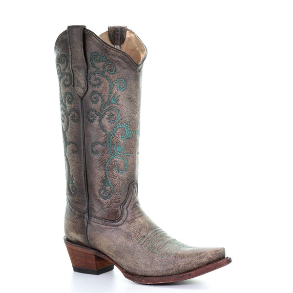 Circle G By Corral Ladies Sand & Turquoise Embroidery Boots L5432