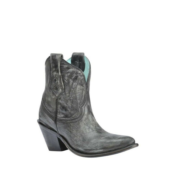 Corral Ladies Distressed Snip Toe Black Ankle Boots A3243